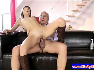 brown-haired first-timer in underwear boned from behind in hd