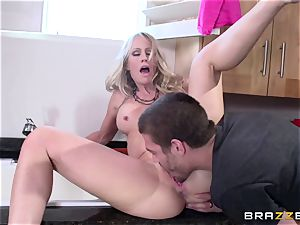 Unsuccessful joke with my girlfrien's horny big-chested stepmother Simone Sonay