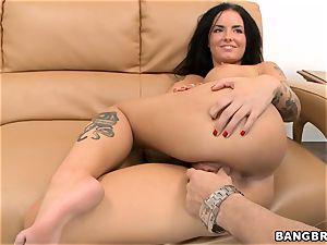 Smoking super-fucking-hot dark haired Christy Mack riding fuckpole
