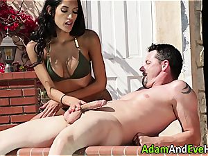 wondrous Latina jacking her excited man