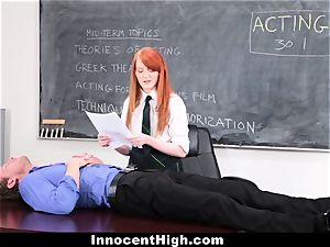 InnocentHigh - uber-cute red-haired college girl plumbs Drama lecturer