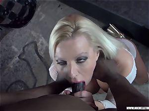 dirty ash-blonde babe fellates melon jerks pummels big ebony man rod
