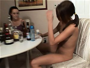 Meggan Powers plays with her moist poon after getting buzzed