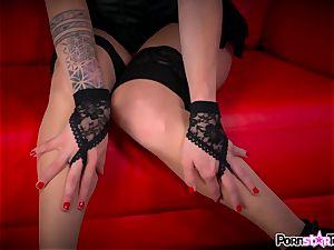 watch Maia Davis strip down to flash off her pink slit