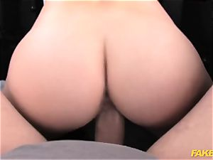 faux cab lovely blondie takes on hefty fuckpole