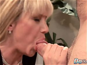 beautiful platinum-blonde cougar torn up fine in front of her husband