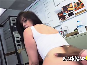 big-boobed dark haired enjoys jerking director with her big baps