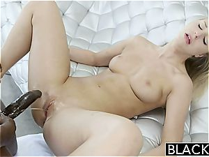youthfull blonde Lacey Johnson busts on a ebony prick