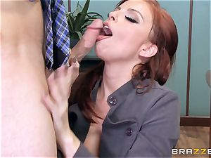 sandy-haired manager Britney Amber romps a super-naughty employee