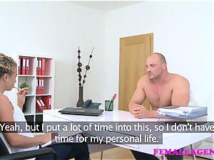 FemaleAgent guy pleases agents prick fervor