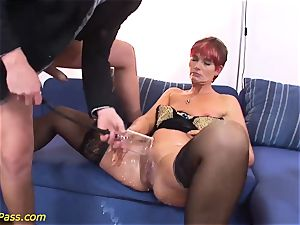 oiled chubby mummy gets ass fucking pumped