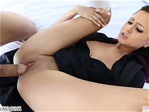 brother pulverizes his younger step-sister Ariana Marie after lessons