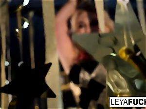 mind-blowing Leya Falcon unclothes at a gold caked de-robe club