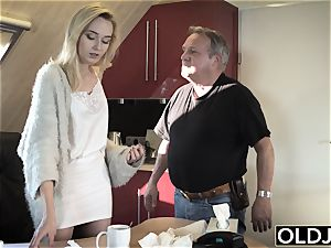 youthful old porn Martha gives granddad a filthy bj