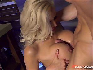Vampiress Nina Elle deep-throats fuck-stick before nibbling her marionette