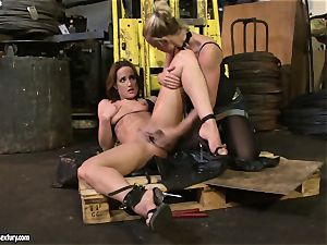 Andy chocolate-colored and Kathia Nobili toying with dildo