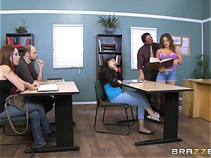 Jean Michaels plows her teacher in the classroom