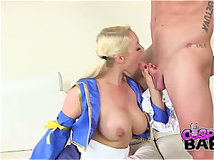 Some jizz for the uber-sexy costume play stunner