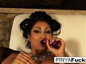 Indian milf Priya taunts then sates her wondrous wet fuckhole