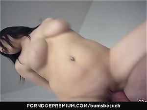 donks BESUCH - Naturally chesty babe gets cum on milk cans