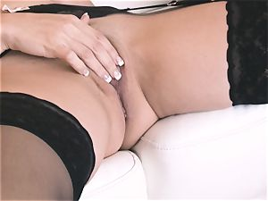 ample boobed japanese Mai Ly massages her mams