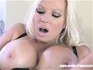 Oily blonde biker honey drains with a phat ebony toy