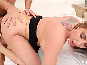 Samantha Saint needs to quench her sexual appetite with a phat manmeat in her gullet