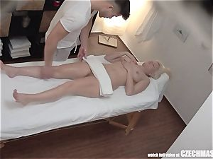 big-boobed ash-blonde rides masseuse