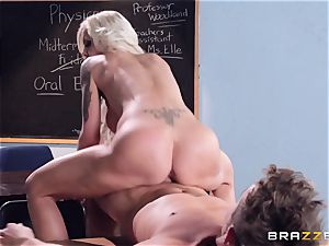 blond instructor Nina Elle puts this student off his stride