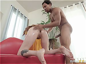sandy-haired mega-bitch with hairy snatch gets her back door opened up by bbc