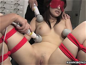 japanese meatpipe deep-throater suffers a gang playing