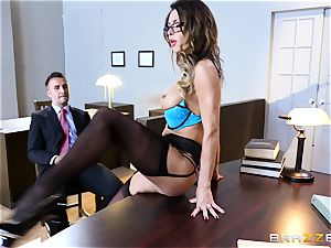 Jessica Jaymes slobbers over a lawyers gigantic man sausage