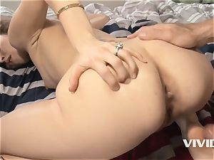She makes this filthy older dude jizz rock-hard on her face
