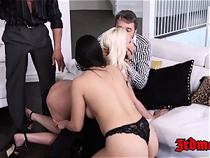 buxomy milf four-way smashing until orgasm