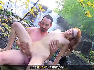 petite sandy-haired pulverized in the forest