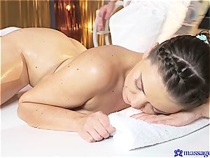 pigtailed hotty plumbed by the strenuous masseuse