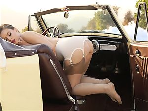 Lana Rhoades vintage car cunny have fun