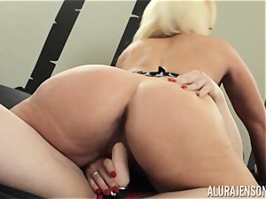 Alura Jenson fuckbox crammed with strap-on strong muscled dame Brandi May