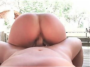 Gigi enjoy boned by the pool