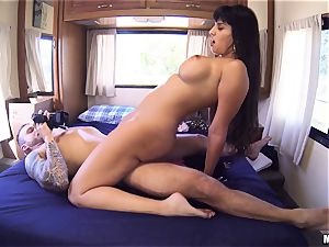 muff thrashing nasty black-haired Mercedes Carrera in a caravan
