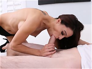Eva long gags on thick man meat