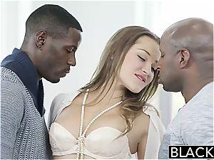 BLACKED Dani Daniels vs 2 big bbc!