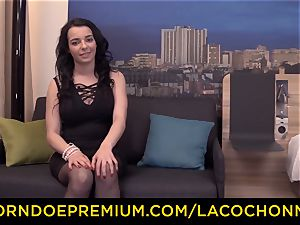LA COCHONNE - French dark-haired babe enjoys hard-core assfuck