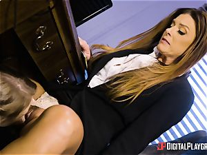 India Summers and Sunny Lane slit tribbing act in the office