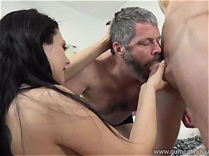 Megan Sages husband masturbates tiny schlong As She Gets penetrated