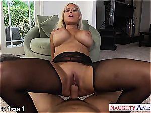 super-naughty Bridgette B. takes his pole inbetween her funbags
