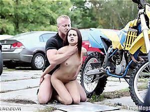slim Czech beauty gets fucked near the garage